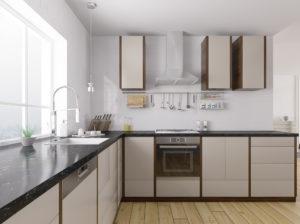 Moderne Küche mit dunkler Natursteinarbeitsplatte